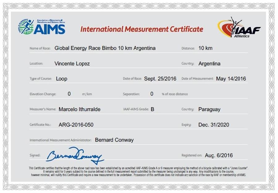 Certificado 10K Global Energy Race Bimbo Argentina web